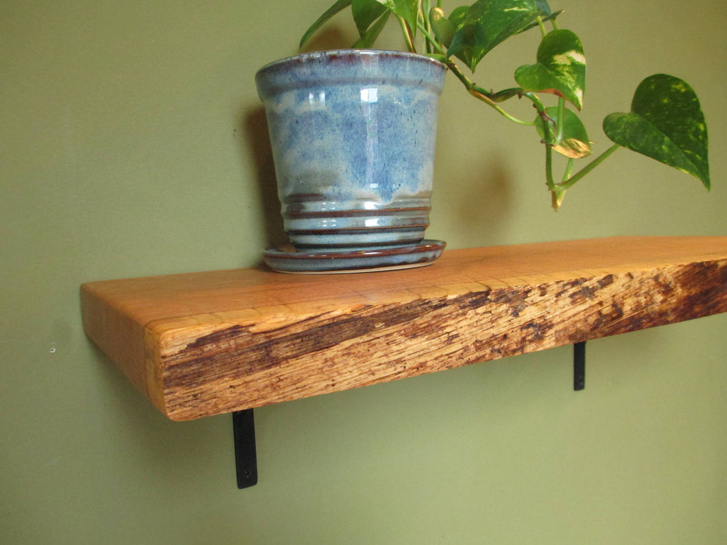Natural-Edge Quarter Sawn Oak shelf
