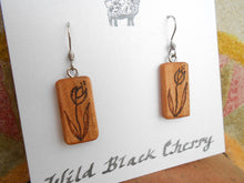 Load image into Gallery viewer, Cherry Wood Flower Earrings - Wood Burned
