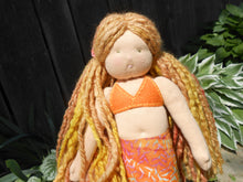 Load image into Gallery viewer, Organic Waldorf Mermaid Doll - 14 inch with with Hand-dyed + Hand-spun Wool Hair