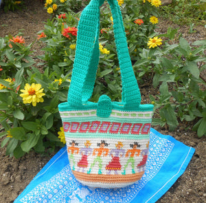 "Tapestry Crocheted  ""Contra Dance"" Purse with Liner"