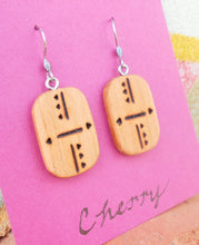 Load image into Gallery viewer, Cherry Wood Earrings - Wood Burned
