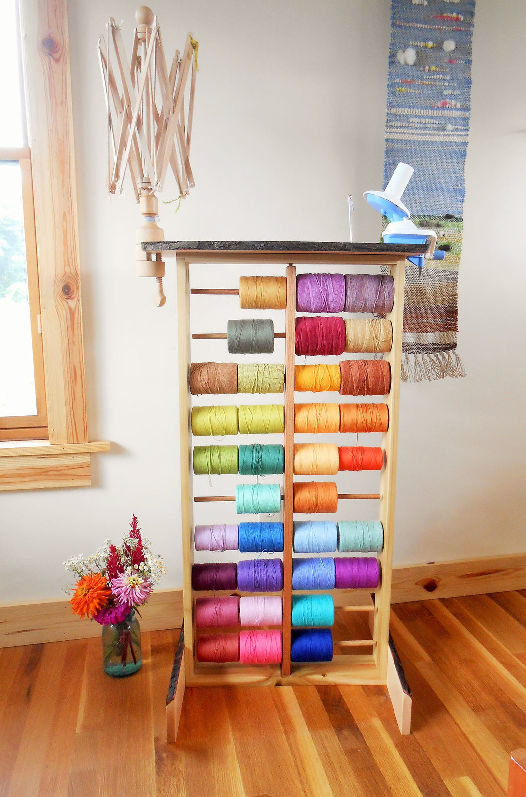 Weaving Winding Station & Spool Rack - Custom Made From Appalachian Hardwoods