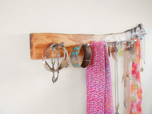 Rustic Salvaged Wood Accessory Rack - Red Oak