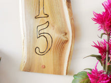 Load image into Gallery viewer, Live Edge Black Locust Custom Address Sign - Wood Burned Sign