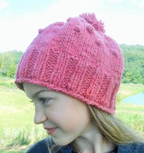 Girls Chunky Knit Merino Pom Pom Hat - Rose/Pink
