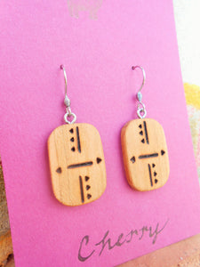 Cherry Wood Earrings - Wood Burned