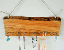 Load image into Gallery viewer, Cherry Wood Jewelry Organizer with Hemp Twine