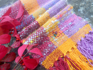 Handwoven Wool and Cotton Chenille Scarf