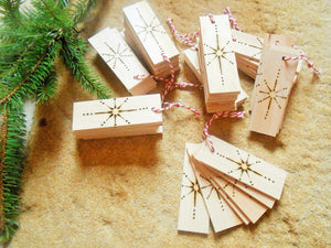 Wooden Gift Tags with Wood Burned Star Design