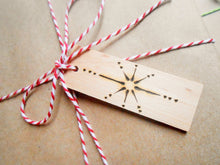Load image into Gallery viewer, Wooden Gift Tags with Wood Burned Star Design
