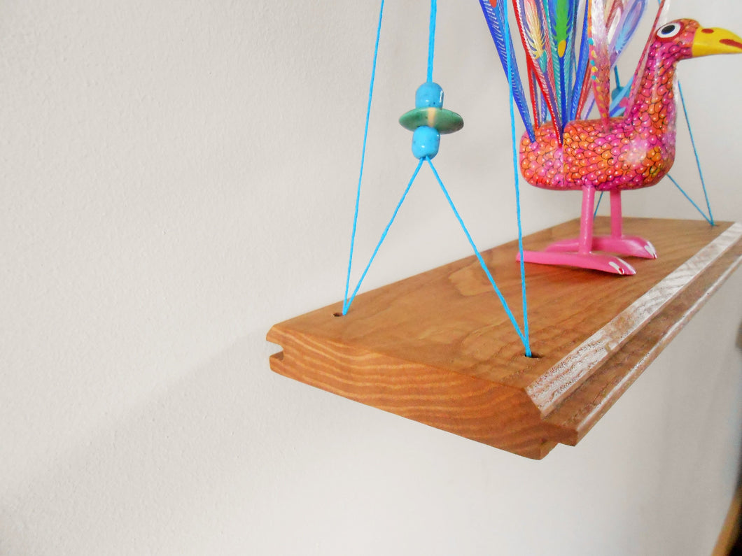 Ash Swing Shelf with Beading + Hemp Twine
