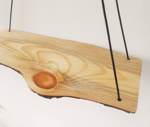 Natural Edge Pine Swing Shelf with Leather Cord
