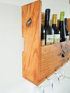 Rustic Oak Wine Rack - 5 Bottle Rack