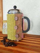Load image into Gallery viewer, Hand-dyed Wool French Press Cozy with Walnut Wood Buttons