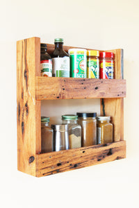 Rustic Solid Oak Spice Rack with Character Grain