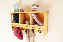 Load image into Gallery viewer, Mulberry Wood Coat Rack with Key Holder and Cubbies