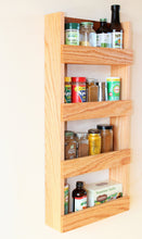 Load image into Gallery viewer, Tiered Oak Wood Spice Rack