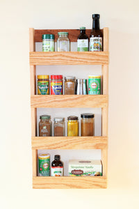 Tiered Oak Wood Spice Rack