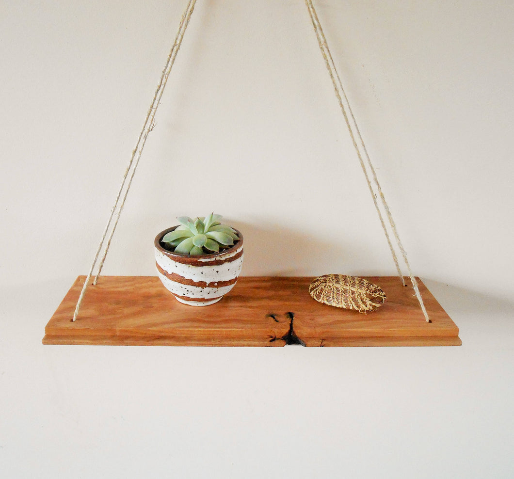 Rustic Ash Swing Shelf with Hemp Cord