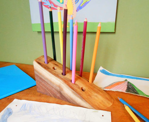 Black Walnut Wood Pencil Organizer - Desk Caddie