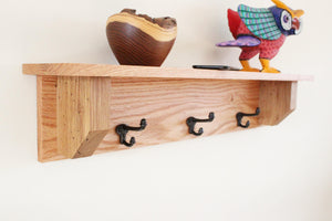 Solid Oak Coat Rack with Cast Iron Hooks