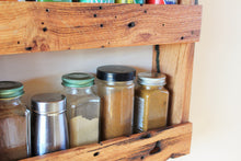 Load image into Gallery viewer, Rustic Solid Oak Spice Rack with Character Grain
