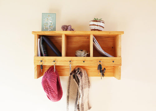 Mulberry Wood Coat Rack with Key Holder and Cubbies