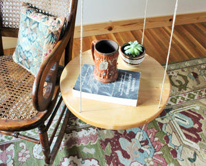Tiger Maple Floating Table - Round Floating Table with Hemp Twine
