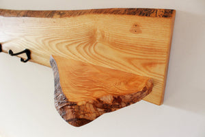 Live Edge Ash Coat Rack with Shelf