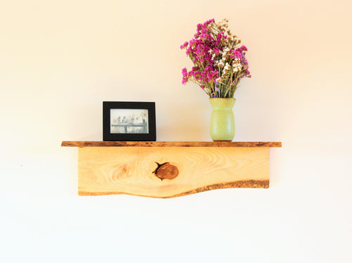 Rustic Wall Mount Shelf - Ash & Cherry Wood