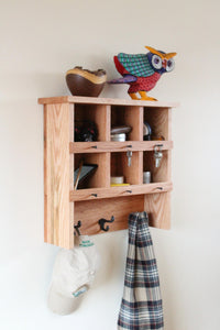 Red Oak Shelf and Coat Rack Duo with Cubbies