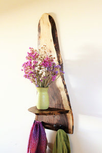 Live Edge Black Walnut Shelf with Hooks