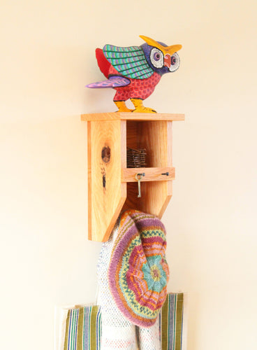 Red Oak Tiny Birdhouse Coat Rack / Cubby