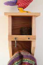 Load image into Gallery viewer, Red Oak Tiny Birdhouse Coat Rack / Cubby