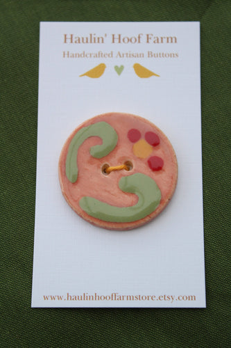 Large Circular Ceramic Button - Pink/Blush