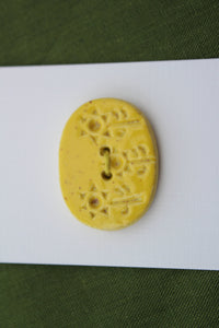 Oval Ceramic Flower Button - Bright Yellow