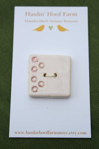 Large Square Ceramic Button - White
