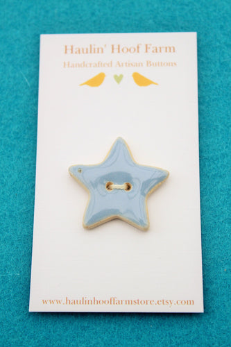 Ceramic Star Button - Blue Star