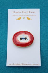 Large Oval Ceramic Button - Red + White