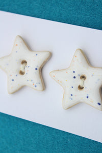 Ceramic Star Buttons- White Stars