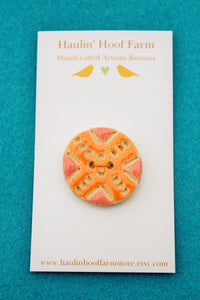Decorative Ceramic Button - Orange