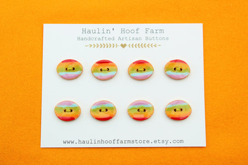 Oval Ceramic Buttons - Rainbow