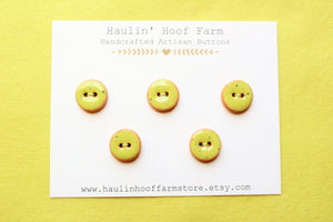 Round Ceramic Buttons - Green/Yellow