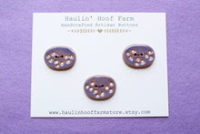 Load image into Gallery viewer, Large Oval Ceramic Buttons - Purple + White