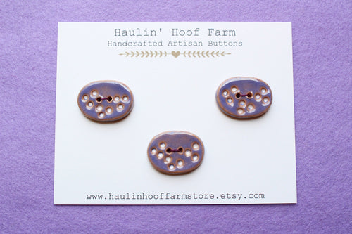 Large Oval Ceramic Buttons - Purple + White