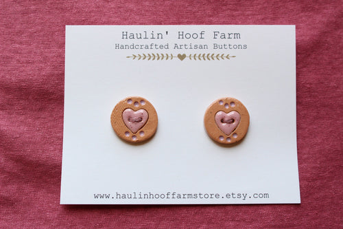 Ceramic Heart Buttons - Pink + Purple