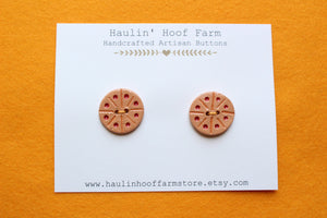 Round Ceramic Buttons - Red + Orange