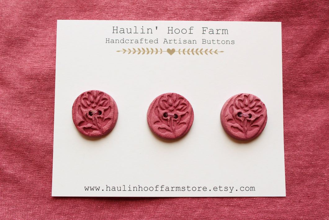 Ceramic Rose Buttons - Pink/Mauve