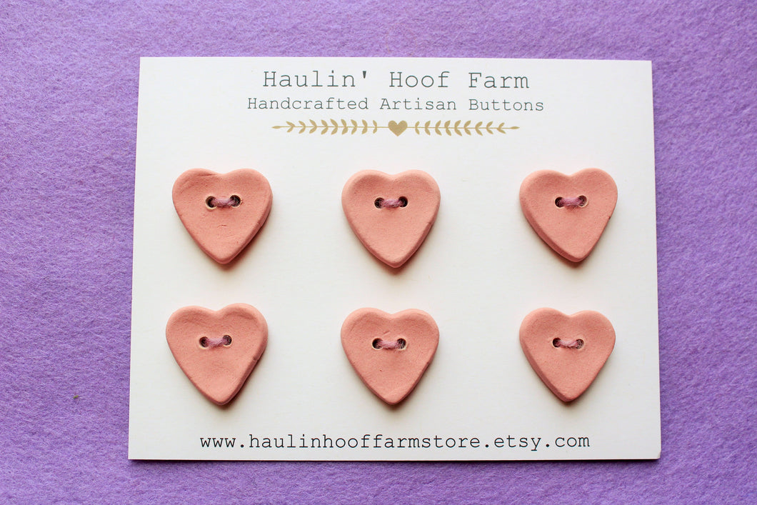 Ceramic Heart Buttons - Pink / Mauve