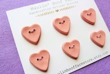 Load image into Gallery viewer, Ceramic Heart Buttons - Pink / Mauve